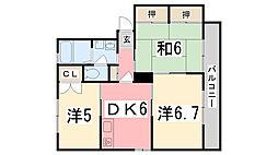 兵庫県姫路市新在家本町2丁目の賃貸アパートの間取り