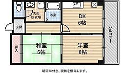 Osaka Metro御堂筋線 なかもず駅 徒歩11分の賃貸マンション 2階2DKの間取り