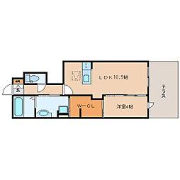 JR和歌山線 志都美駅 徒歩17分の賃貸アパート 1階1LDKの間取り