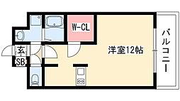 プレサンス栄ブリオ 4階1Kの間取り