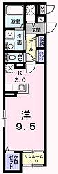 JR青梅線 小作駅 徒歩4分の賃貸マンション 1階1Kの間取り