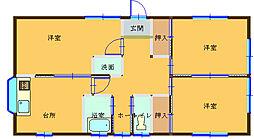 [一戸建] 栃木県足利市葉鹿町1丁目 の賃貸【/】の間取り