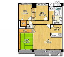 兵庫県西宮市松山町の賃貸マンションの間取り