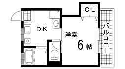 兵庫県神戸市中央区神仙寺通1丁目の賃貸アパートの間取り