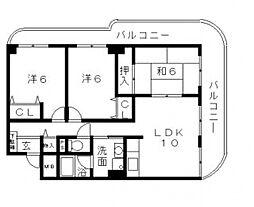 ネオシティ東田辺[4階]の間取り