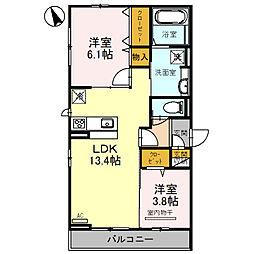 仮称D-room北区百舌鳥西之町 2階2LDKの間取り