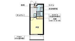 レオパレスSAKI(家具家電無し) 2階1Kの間取り