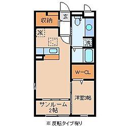 長野県岡谷市若宮2丁目の賃貸アパートの間取り