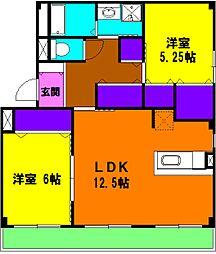 静岡県浜松市中区高丘北2丁目の賃貸アパートの間取り