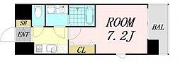 レジュールアッシュ淡路駅前 7階1Kの間取り