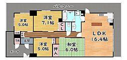 阪急神戸本線 六甲駅 徒歩18分の賃貸マンション 1階4LDKの間取り