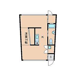 奈良県生駒市山崎町の賃貸マンションの間取り