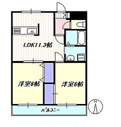 神奈川県茅ヶ崎市高田5丁目の賃貸マンションの間取り