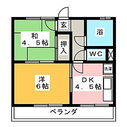 青島マンション[3階]の間取り