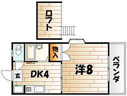 福岡県北九州市小倉南区葛原1丁目の賃貸アパートの間取り