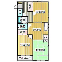 愛知県名古屋市中川区高畑3丁目の賃貸マンションの間取り