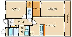大阪府八尾市太子堂4丁目の賃貸マンションの間取り