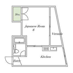大阪府大阪市東住吉区南田辺2丁目の賃貸マンションの間取り