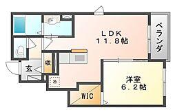 岡山県岡山市北区西辛川の賃貸アパートの間取り