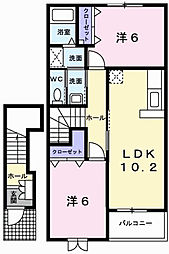 アウローラM B棟[2階]の間取り