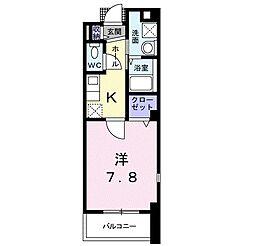 大阪府富田林市寿町1丁目の賃貸マンションの間取り