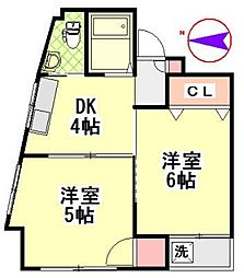 メゾン高澤 3階2DKの間取り
