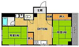兵庫県神戸市北区鈴蘭台東町1丁目の賃貸マンションの間取り