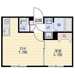 ティンカーベル 3階1DKの間取り