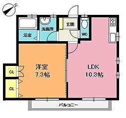 K・Sアパート[101号室]の間取り