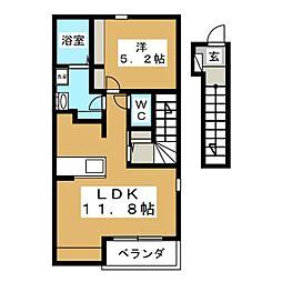 宮城県仙台市太白区東中田3丁目の賃貸アパートの間取り