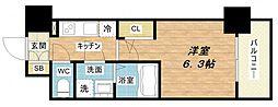 エスリード京橋セントラル 13階1Kの間取り