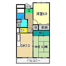 山崎ハイツ(桟橋)[4階]の間取り
