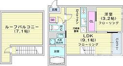 JR仙山線 東照宮駅 徒歩10分の賃貸アパート 2階1LDKの間取り