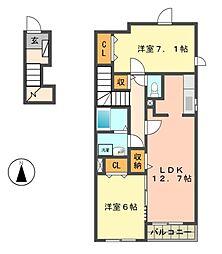 愛知県名古屋市名東区香南2丁目の賃貸アパートの間取り