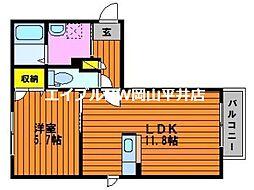 JR山陽本線 上道駅 3.4kmの賃貸アパート 2階1LDKの間取り