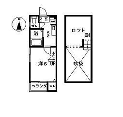 愛知県名古屋市中村区名楽町5丁目の賃貸アパートの間取り