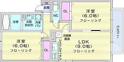 グレースコート弐番館 2階2LDKの間取り