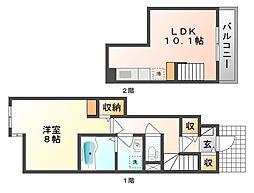 岡山県岡山市南区若葉町の賃貸アパートの間取り