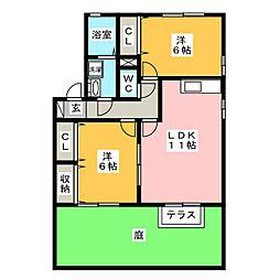 ベルサード B[1階]の間取り