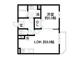 近鉄京都線 十条駅 徒歩13分の賃貸アパート 3階1LDKの間取り
