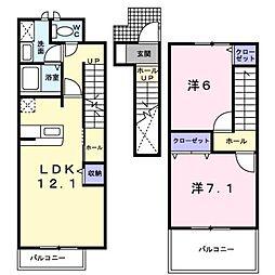 愛媛県松山市空港通1丁目の賃貸アパートの間取り