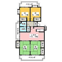 ラ・キャッスル21勝川[2階]の間取り