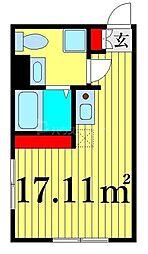 JR山手線 日暮里駅 徒歩12分の賃貸マンション 3階ワンルームの間取り