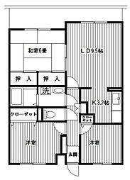 神奈川県横浜市都筑区北山田4丁目の賃貸マンションの間取り