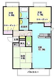 茨城県ひたちなか市高場6丁目の賃貸アパートの間取り
