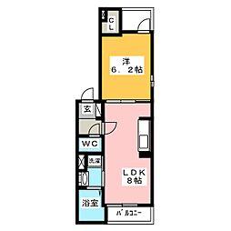 エテルノルーチェ 3階1DKの間取り