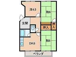 松ヶ丘コーポラス[3階]の間取り