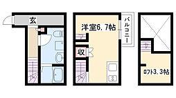 愛知県名古屋市緑区鳴海町字白山の賃貸アパートの間取り