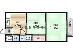 牟田口ハイツ2 2階2DKの間取り