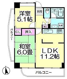 コーポレート竹の塚二丁目[506号室]の間取り
